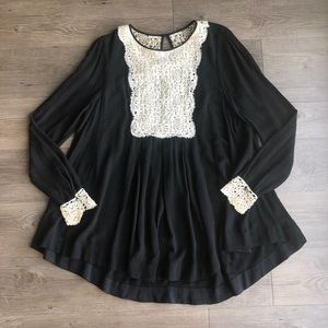 Free People | Black Crochet Lace Bib Tunic Blouse